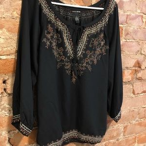 Lucky Brand Black Embroidered Top Size Small